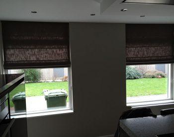 raamdecoratie strijbosch - vouwgordijnen met overgordijnstof